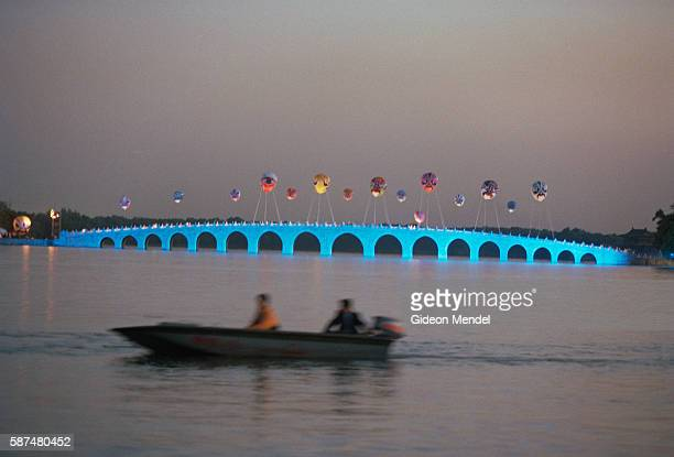 The famous marble Seventeen Arch Bridge in the Yuanmingyuan the Summer Palace in Beijing The bridge is specially illuminated for a unique celebration...