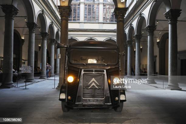 The famous Marina and Ulay's van is displayed during the exhibition 'Marina Abramovic The Cleaner Marina Abramovic' at Palazzo Strozzi on September...