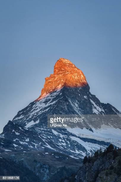 The Famous Matterhorn at Dawn with Alpenglow, Switzerland