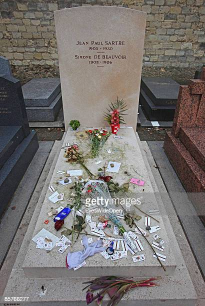 The famous montparnasse cemetary with the thombstone of Simone de Beauvoir and Jean Paul Satre in Paris FEBRUARY 25 2009