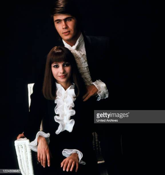 The famous musician couple Esther and Abi Ofarim are photographed together before a performance Germany circa 1967