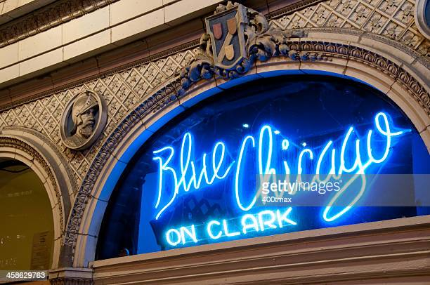 The Famous Neon Blue Chicago Blues Club Sign