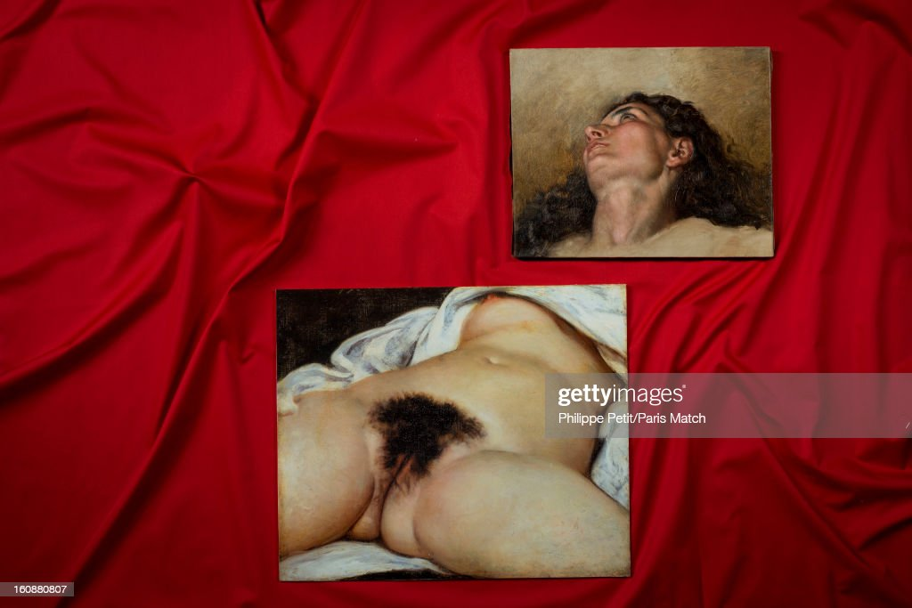 The famous painting 'L'Origine du Monde' by Gustave Courbet is photographed for Paris Match on January 31, 2013 in Paris, France. PUBLISHED IMAGE. The face of the woman who was famously painted by Courbet and discover by an art lover in an antique shop. After two years of investigation, the painting was authenticated as the missing part of the famous painting 'L'Origine du Monde' by Gustave Courbet, revealing the face and body of his mistress Joanna Hifferman.