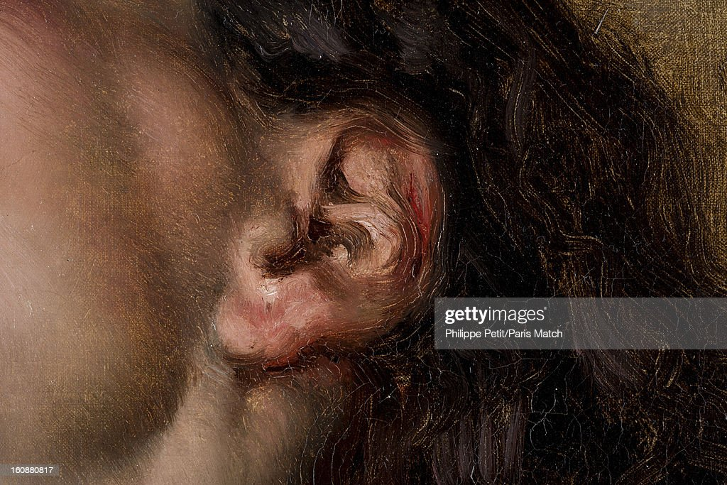 The famous painting 'L'Origine du Monde' by Gustave Courbet is photographed for Paris Match on January 31, 2013 in Paris, France. PUBLISHED IMAGE. A detail of the ear of the woman who was famously painted by Courbet was discover by an art lover in an antique shop. After two years of investigation, the painting was authenticated as the missing part of the famous painting 'L'Origine du Monde' by Gustave Courbet, revealing the face and body of his mistress Joanna Hifferman.