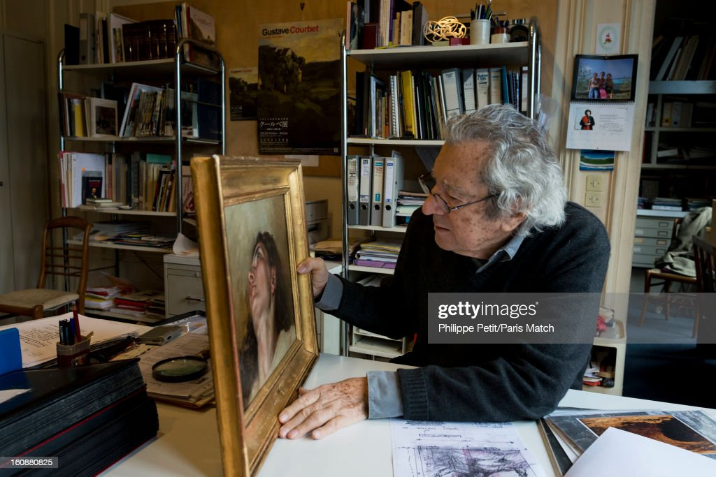 The famous painting 'L'Origine du Monde' by Gustave Courbet is photographed for Paris Match on January 31, 2013 in Paris, France. PUBLISHED IMAGE. The face of the woman who was famously painted by Courbet was discover by an art lover in an antique shop. After two years of investigation, the painting was authenticated as the missing part of the famous painting 'L'Origine du Monde' by Gustave Courbet, revealing the face and body of his mistress Joanna Hifferman. Pictured is Jean-Jacques Fernier from Institut Gustave Courbet, author of 'Catalogue raissone' confirmed the authenticity of the painting.