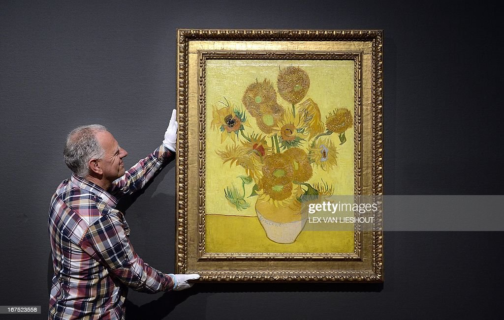 The famous painting Sunflowers of painter Vincent Van Gogh is back at the Van Gogh museum in Amsterdam, The Netherlands, on April 26, 2013. The painting stayed temporarily in the Hermitage due to the renovation of the Van Gogh museum. The Van Gogh Museum is due to re-open on May 1, 2013 after renovations work. CREDIT 'AFP PHOTO / AFP PHOTO - ANP / LEX VAN LIESHOUT' NO MARKETING NO ADVERTISING CAMPAIGNS, DISTRIBUTED AS A SERVICE TO CLIENTS = netherlands out