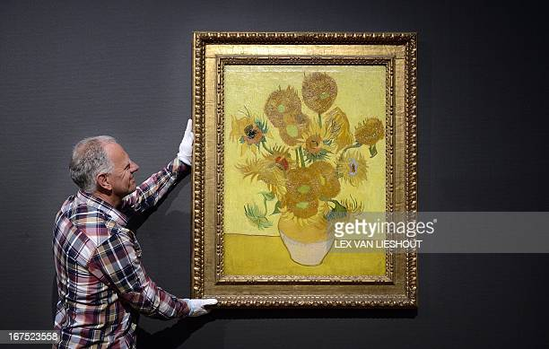 The famous painting Sunflowers of painter Vincent Van Gogh is back at the Van Gogh museum in Amsterdam The Netherlands on April 26 2013 The painting...