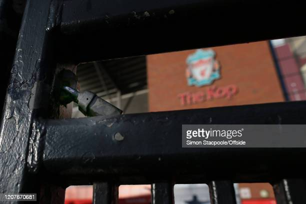 The famous Paisley Gates at Liverpool Football Club's Anfield stadium are closed as concerns escalate over the spreading of COVID19 Coronavirus on...