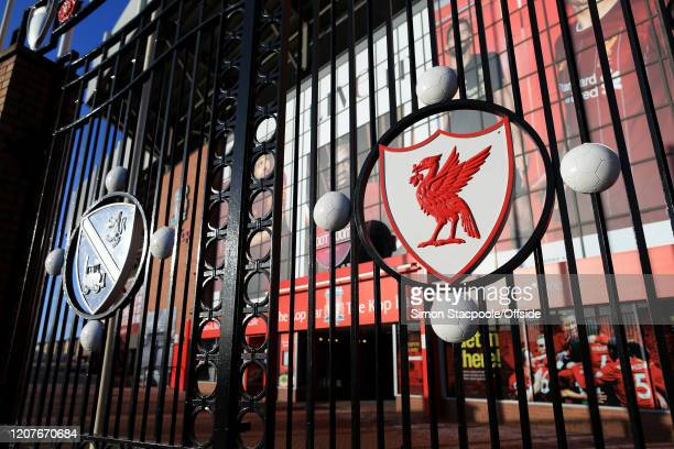 The famous Paisley Gates at Liverpool Football Club's Anfield stadium are closed as concerns escalate over the spreading of COVID-19 Coronavirus on...