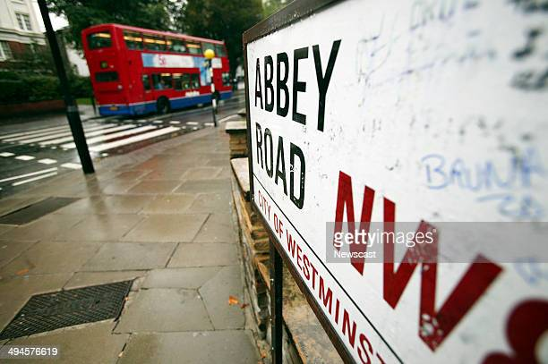 The famous pedestrian crossing outside Abbey Road Studios used by The Beatles on their album Abbey Road London
