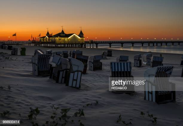 The famous pier in Ahlbeck an iconic building in traditional german resort architecture on the island of Usedom EuropeGermany MecklenburgWestern...