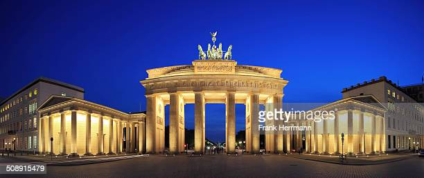 The famous place in Berlin rarely without any people and without any event blue hour panorama shot