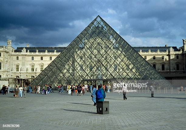 The famous pyramid in the courtyard of the Musee du Louvre