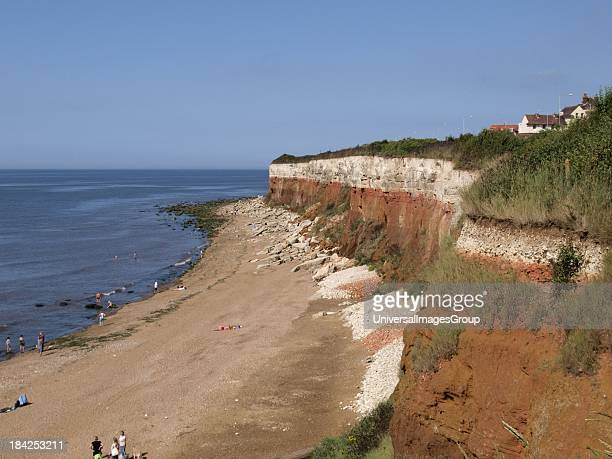 The famous red and white striped cliffs at Hunstanton in Norfolk UK Made up of red Carrstone layer and white chalk layer UK