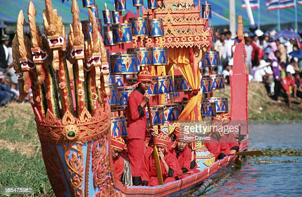 The famous royal boats take to the water at the Phimai Boat racing festival in the Northeast of Thailand Festivals like this one are held on rivers...