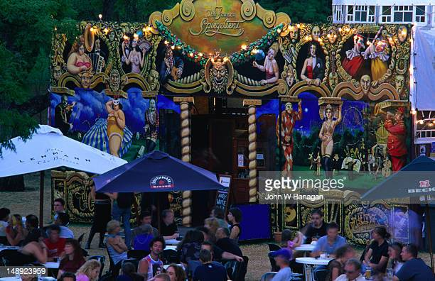 the famous spiegeltent entertainment venue at adelaide fringe festival. - adelaide festival stock pictures, royalty-free photos & images