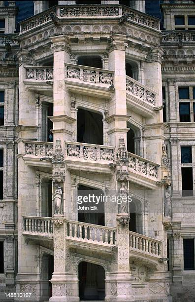 The famous spiral staircase of Chateau de Blois, a magnificent structure decorated with repetitions of Francois I's insignia, a capital F and salamanders, Loire Valley