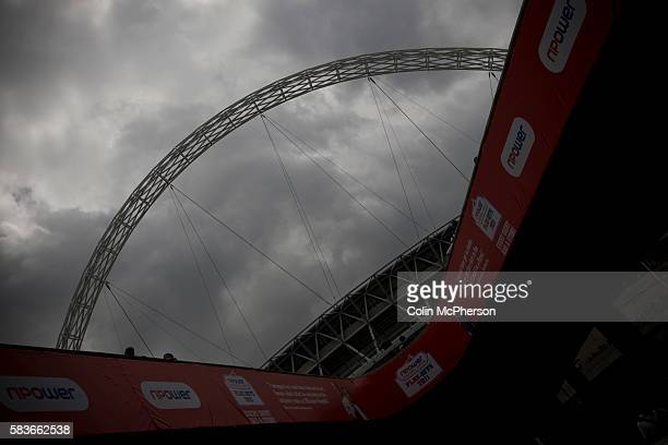 The famous stadium arch on the day of the Npower Championship playoff final between Reading and Swansea City at Wembley Stadium The match was won by...