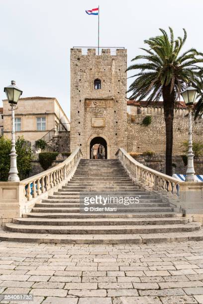 The famous staircase in Korcula old town in Croatia
