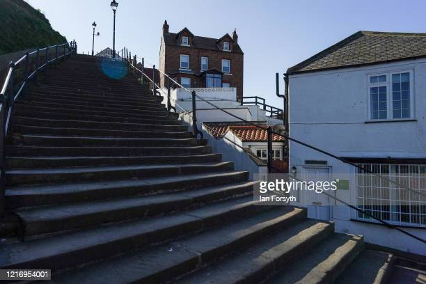 The famous steps to Whitby Abbey are deserted as visitors to Whitby observe the guidelines during the Coronavirus pandemic lockdown on April 05, 2020...