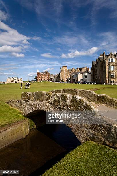 the famous swilcan bridge on st andrews old course - st. andrews scotland stock pictures, royalty-free photos & images