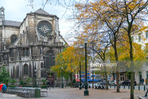 the famous tourists destination saint catherine's church, on a cloudy day in brussels - catherine duchess of cambridge photos stock pictures, royalty-free photos & images