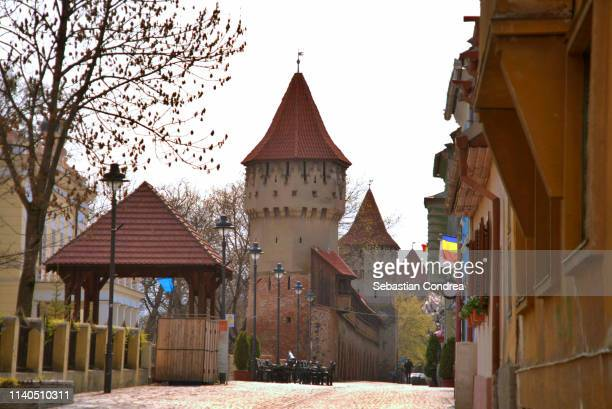 the famous tower of the carpenters on the cetatii street in a beautifull day in sibiu, transylvania, romania. - sibiu stock photos and pictures