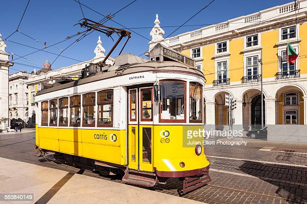 the famous tram 28 in lisbon, portugal. - tram stock photos and pictures