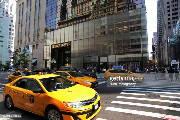 the famous trump tower at 721 fifth avenue in midtown manhattan, new york city, usa - trump tower fifth avenue manhattan stock pictures, royalty-free photos & images