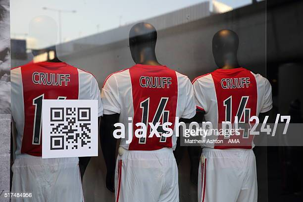 The famous white and red Ajax shirts on sale with the number 14 and Cruijff to commemorate the passing of football legend Johan Cruyff on March 24...