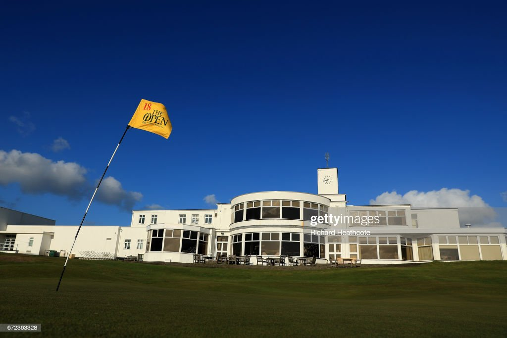 The famous yellow 18th green pin flag of The Open Championship at Royal Birkdale Golf Club, the host course for the 2017 Open Championship during a Media day for the 146th Open Championship on April 24, 2017 in Southport, England.