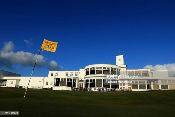 The famous yellow 18th green pin flag of The Open Championship at Royal Birkdale Golf Club the host course for the 2017 Open Championship during a...