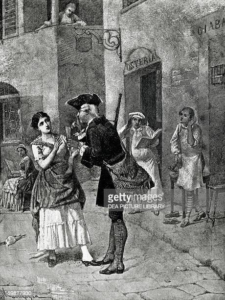 The fan Act I Scene IV of the comedy by Carlo Goldoni engraving from 1888 by Giacomo Mantegazza