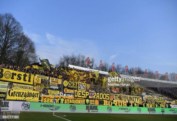 The fan block of Borussia Dortmund seen prior to the Bundesliga match between SV Darmstadt 98 and Borussia Dortmund at Stadion am Boellenfalltor on...