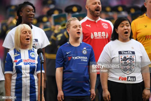 The Fan Choir sing 'Abide With Me' prior to The Emirates FA Cup Final between Chelsea and Manchester United at Wembley Stadium on May 19 2018 in...