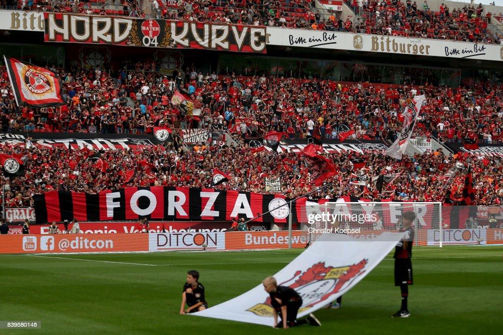The fan corner of Leverkusen is seen prior to the Bundesliga match between Bayer 04 Leverkusen and TSG 1899 Hoffenheim at BayArena on August 26, 2017 in Leverkusen, Germany.