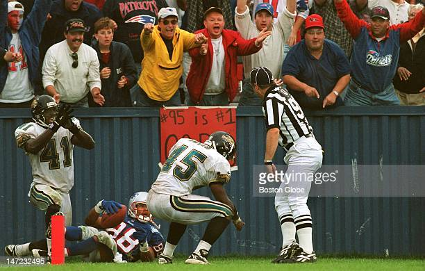 The fans and Terry Glenn think he's in but the referee and the Jaguars say he was out of bounds on a pass play that almost won the game in OT for the...