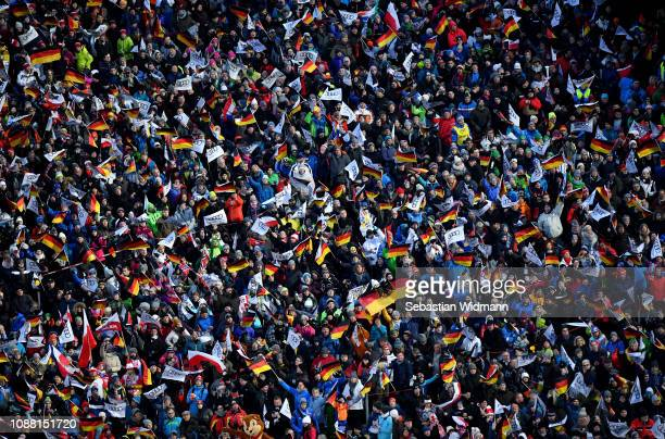 The fans celebrate on day 2 of the 67th FIS Nordic World Cup Four Hills Tournament ski jumping event on December 30 2018 in Oberstdorf Germany