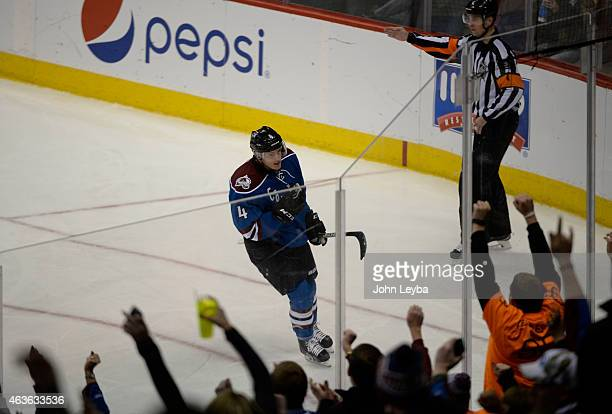 The fans celebrates a goal by Colorado Avalanche defenseman Tyson Barrie on Arizona Coyotes goalie Mike McKenna during the second period February 16...