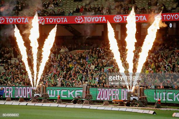The fans cheer during the Big Bash League match between the Melbourne Stars and the Brisbane Heat at Melbourne Cricket Ground on January 14 2016 in...