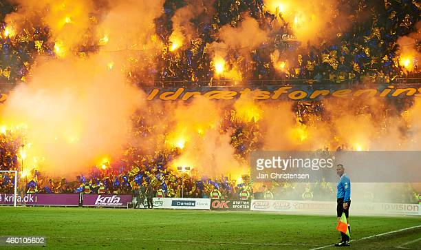 The fans from Brondby IF celebrate the 50th birthday of Brondby IF at the 50th minute during the Danish Superliga match between Brondby IF and...