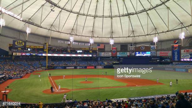The fans in attendance for a 1PM game during the MLB regular season game between the Detroit Tigers and Tampa Bay Rays on April 20 at Tropicana Field...