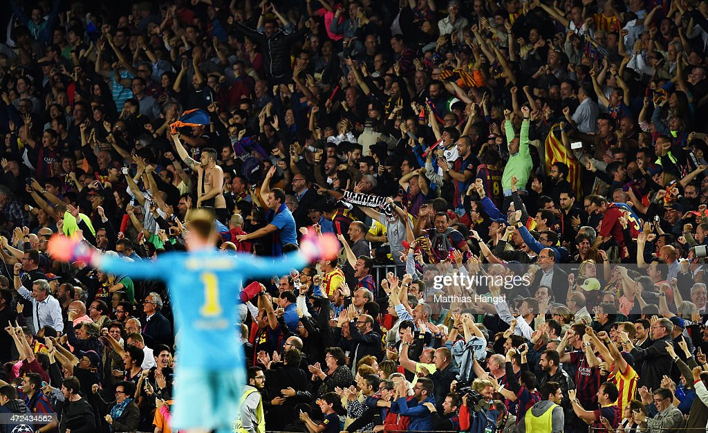 The fans of Barcelona celebrate a goal during the UEFA Champions League Semi Final, first leg match between FC Barcelona and FC Bayern Muenchen at Camp Nou on May 6, 2015 in Barcelona, Spain.