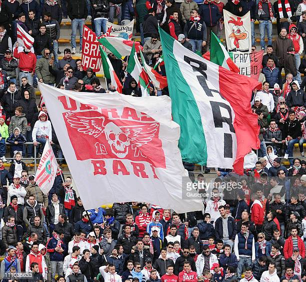 The fans of Bari during the Serie A match between AS Bari and AC Chievo Verona at Stadio San Nicola on March 20 2011 in Bari Italy