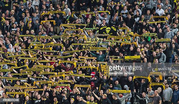 The fans of Borussia Dortmund in action during the UEFA Europa League Group C match between PAOK FC and Borussia Dortmund at Toumba Stadium on...