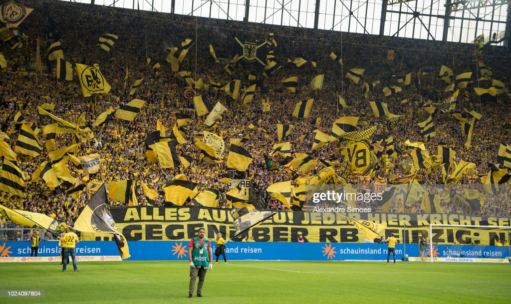 The fans of Borussia Dortmund in action prior to the ...
