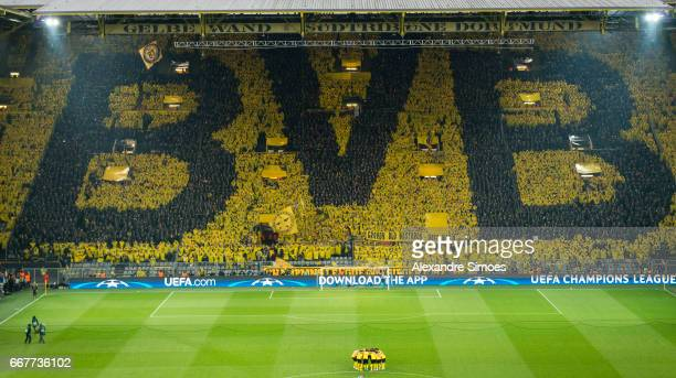 The fans of Borussia Dortmund in action prior to the UEFA Champions League Quarter Final First Leg match between Borussia Dortmund and AS Monaco at...