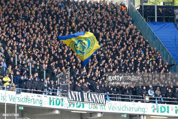 The Fans of Braunschweig during the Second Bundesliga match between Hannover 96 and Eintracht Braunschweig at HDIArena on April 15 2017 in Hanover...