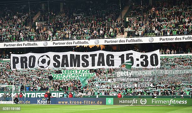 The fans of Bremen protest about monday evening games during the Bundesliga match between Werder Bremen and VfB Stuttgart at the Weser stadium on May...