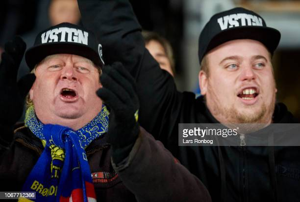The fans of Brondby IF cheer after the Danish Superliga match between Brondby IF and Hobro IK at Brondby Stadion on December 2 2018 in Brondby Denmark